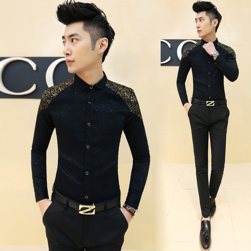 Buy men shirt dress gold embroidery for Mens dress shirt monogram location