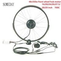 Когда-нибудь 48V350W Электрический велосипед конверсионный комплект весь водонепроницаемый кабель E-bike передний Мотор Ступицы Колеса с диспле...