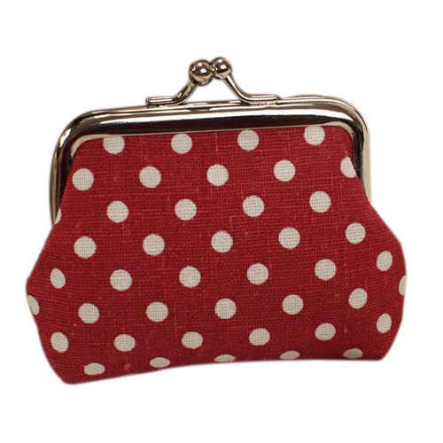 Sevimli kız Mini çanta Polka Dots desen sikke değişim anahtar çantası ek kapatma
