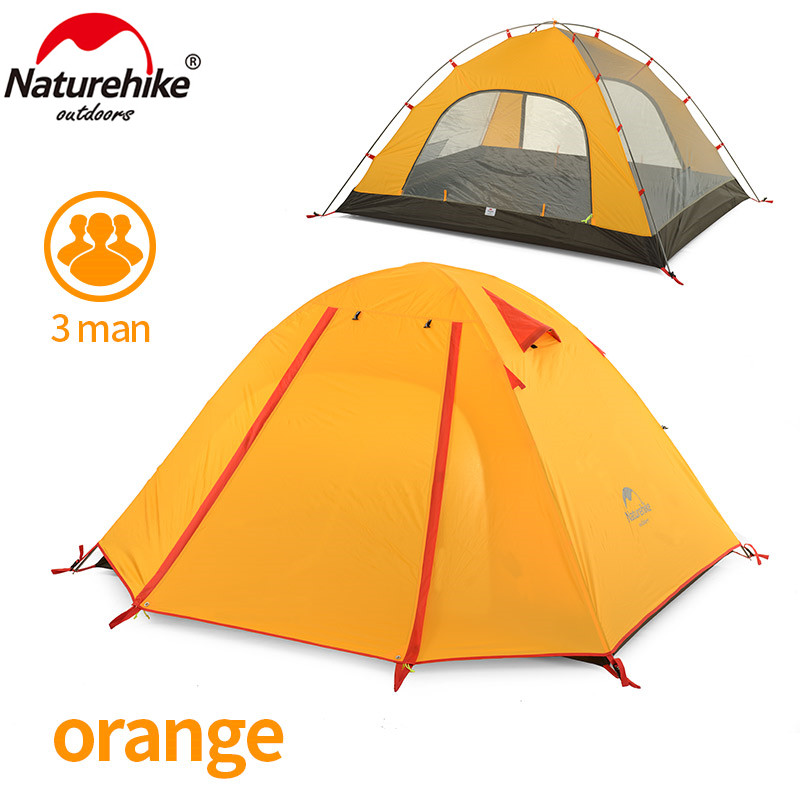 NatureHike 210T 3 Person Light Aluminum Rod 2 Layer Hiking Waterproof Family Beach Fishing Party Cycling Outdoor Camping Tent outdoor camping hiking automatic camping tent 4person double layer family tent sun shelter gazebo beach tent awning tourist tent