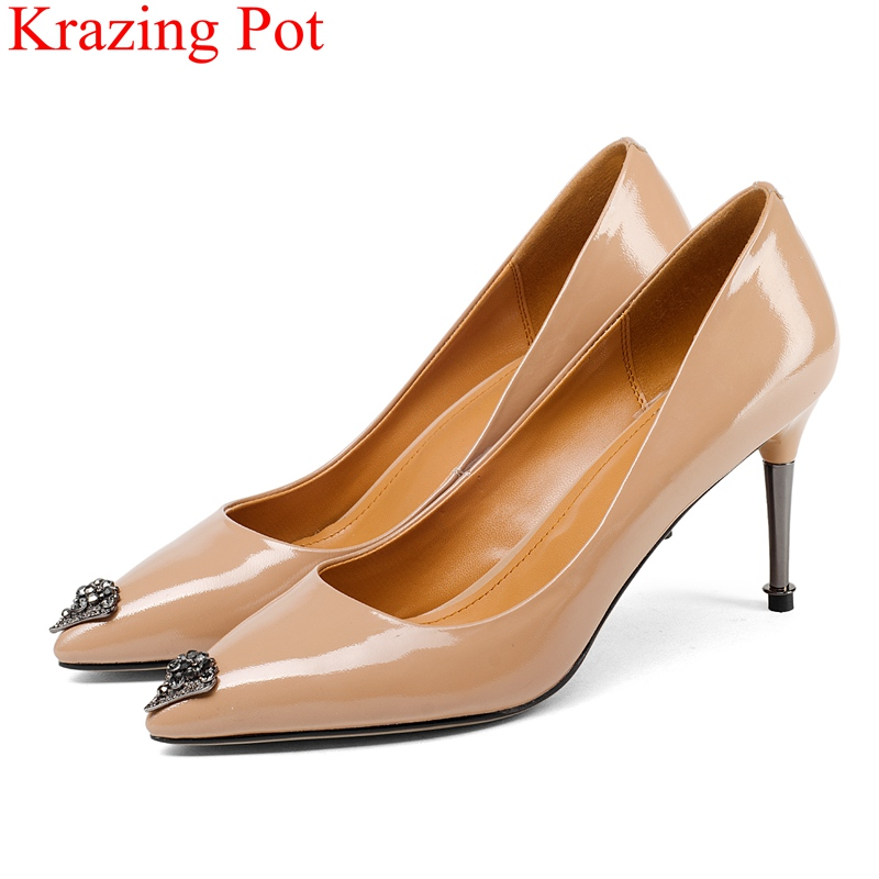 купить 2018 new arrival pointed toe shallow genuine leather thin high heels women pumps office lady elegant sweet nightclub shoes L20 онлайн