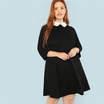 Plus Size Black Cute Peter pan Collar Beading Pearl Embellished A-Line Loose Dresses