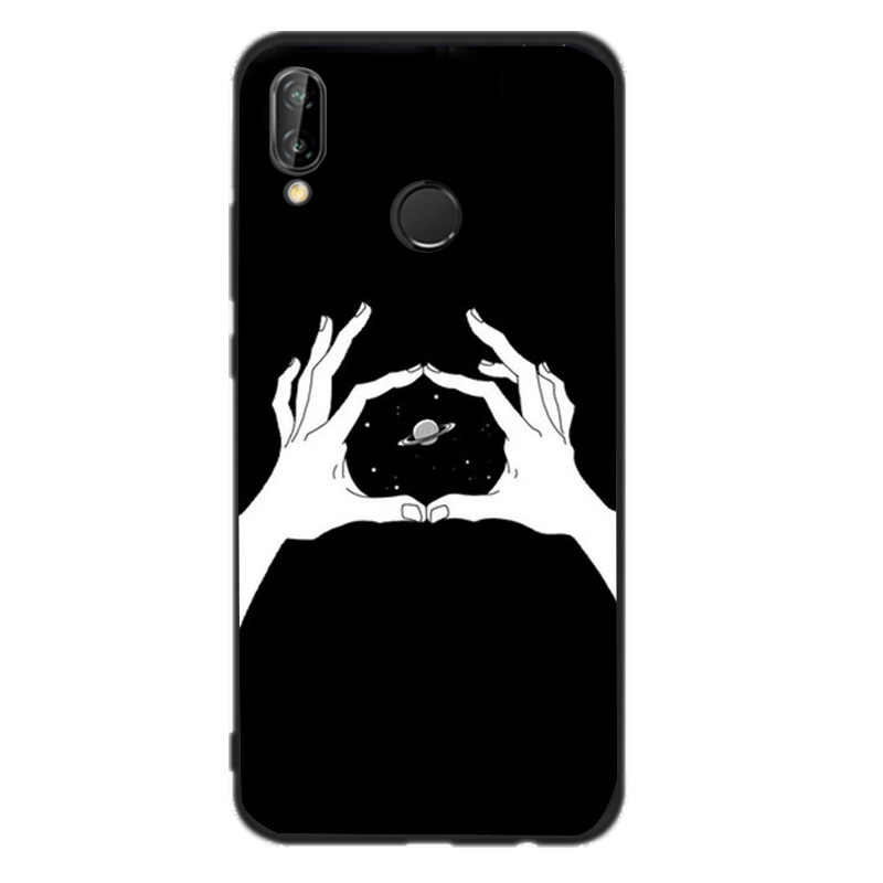 Black Heart Phone TPU For Huawei mate10 case For Funda huawei mate P20 P smart p8lite 2017 p9lite mini p10 lite Cover Back Capa