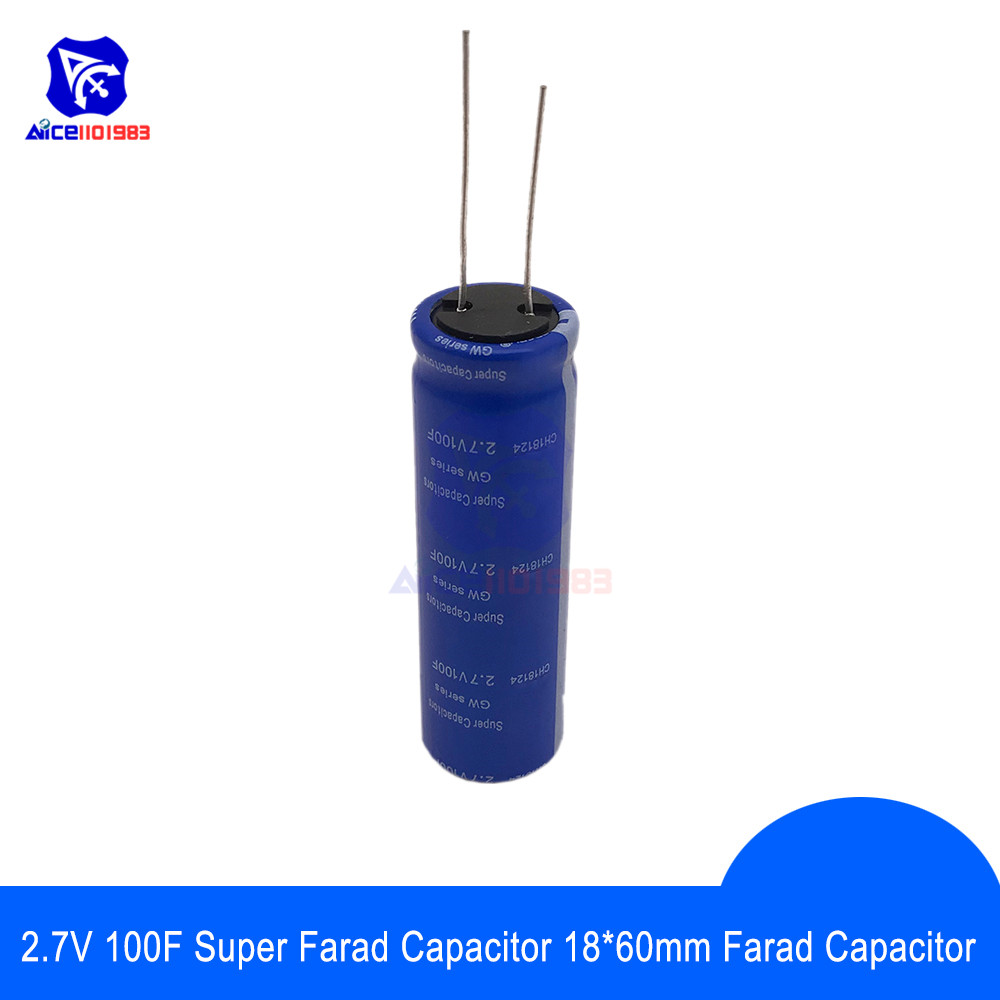 <font><b>Super</b></font> Farad <font><b>Capacitor</b></font> <font><b>2.7V</b></font> <font><b>100F</b></font> 18*60mm High Frequency Low ESR 2.7V100F <font><b>Super</b></font> <font><b>Capacitor</b></font> for Car Stereo Speaker Battery image