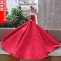 Ручной работы принцесса свадьба ну вечеринку платье одежда платье для Barbie кукла красный платье