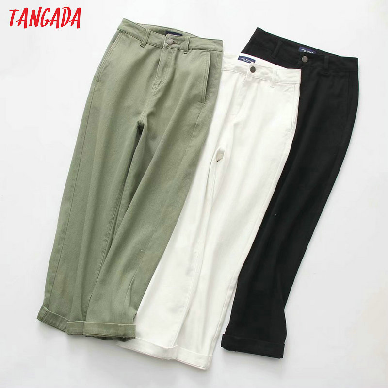 Tangada women casual solid   jeans   pants pockets high waist straight trousers stylish black white and amy green trousers 3T03