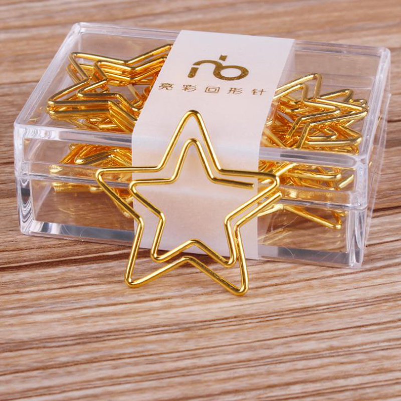 10 Pcs/pack Kawaii Golden Hollow Five Pointed Stars Metal Bookmarks Paper Clips Memo Photo Message Clip Page Holder Stationery