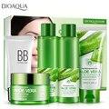 Cuidado de la piel Set 5 unids 92% Puro de Aloe Vera Crema Facial + Tónico + Loción de Reparación + Limpiador + BB crema de Control de Aceite Hidratante Reducir Los Poros
