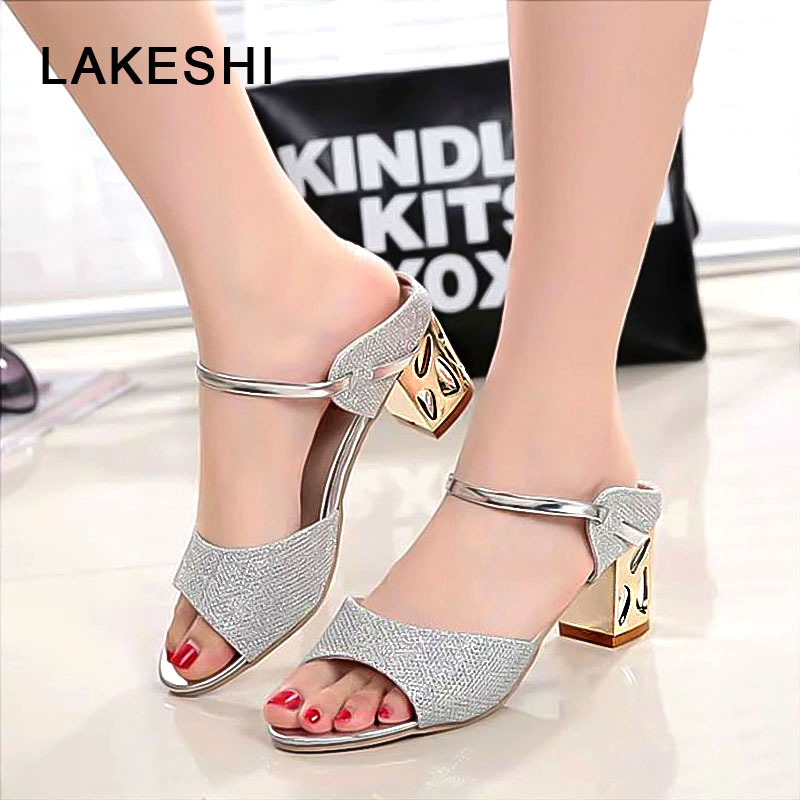 LAKESHI Metal Square Heel Women Sandals Women Heel Shoes Gold Sliver Peep Toe Ladies Sandals 2018 Summer Casual Sandals Woman hzxinlive elegant summer sandals women high heel wedges shoes woman round toe roman sandals ladies footwear female casual shoes