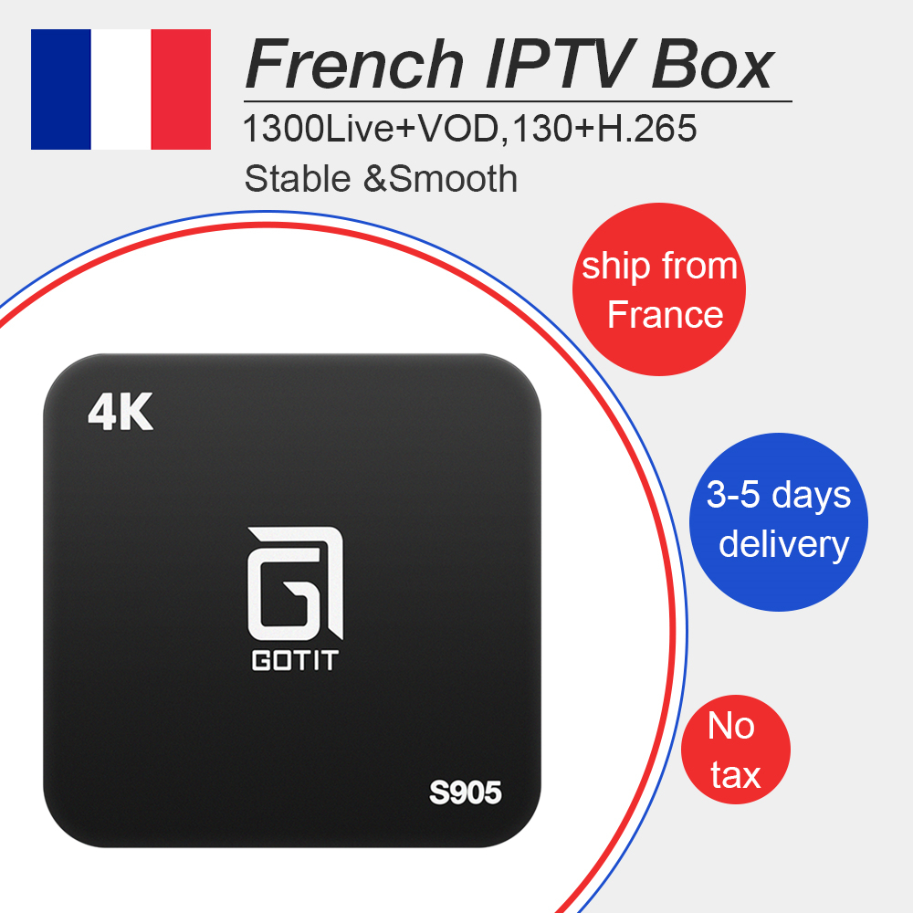 Gotit s905 Android iptv box 7.1 with best French Arabic Belgium 1 year iptv 1300Livetv +vod for smart tv m3u mag free shipping