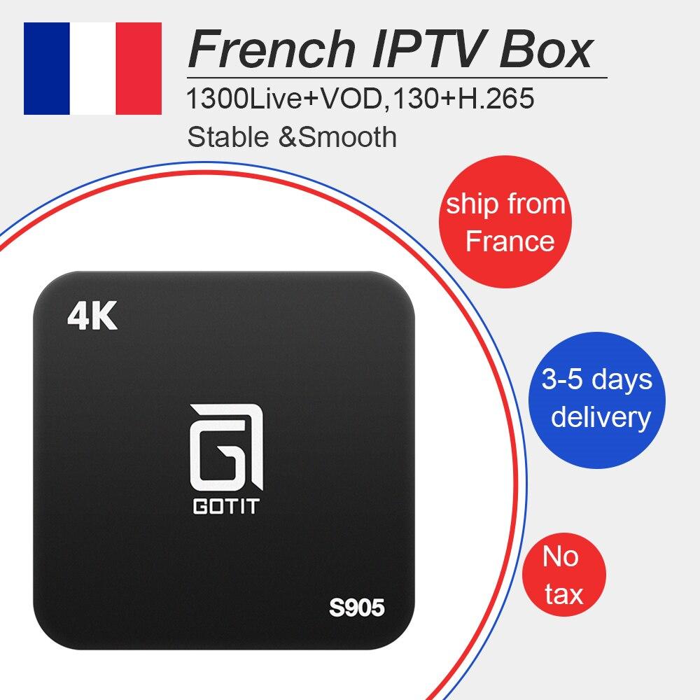 Gotit s905 Android iptv boîte 7.1 avec le meilleur Français Arabe Belgique 1 année iptv 1300 Livetv + vod pour smart tv m3u mag livraison gratuite