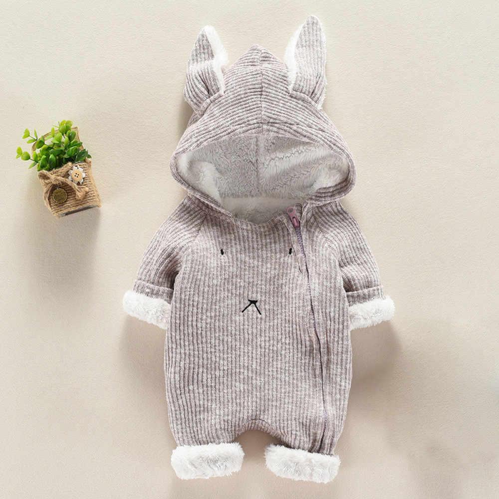 Neugeborene Jungen Mädchen Cartoon Mit Kapuze 3D Ohr Strampler Overall Kleidung baby winter kleidung bebek tulum infantil kostüm