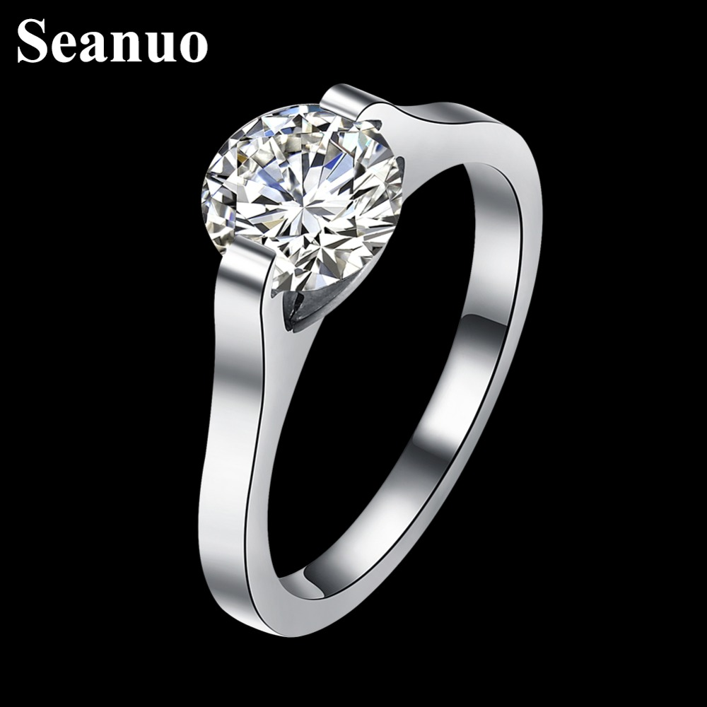 Seanuo Big AAA Cubic zirconia silver plated women wedding ring fashion statement stainless steel female engagement finger rings