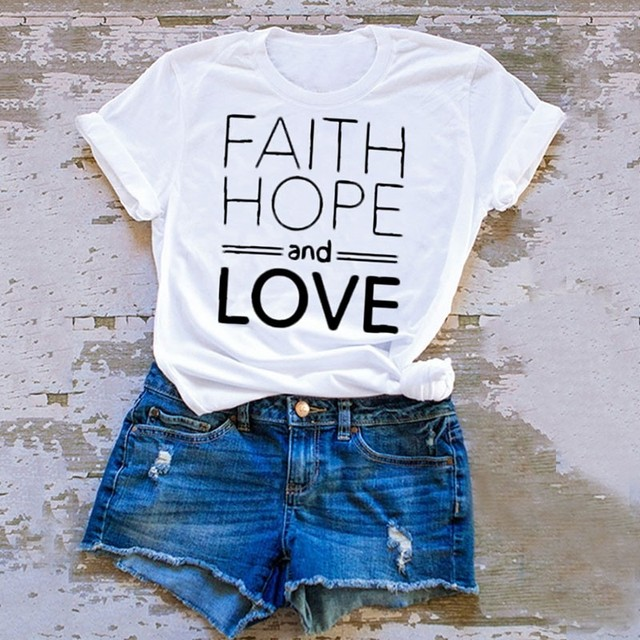 Hope Solid Bible And Color T Shirt Slogan Christian Faith Love OP8Xnk0w