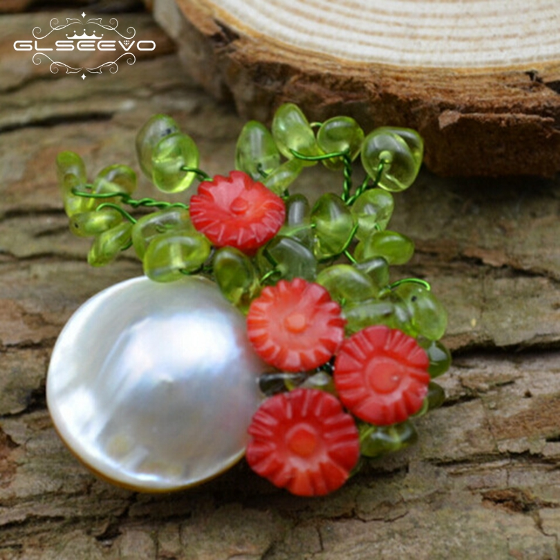 GLSEEVO Luxury Natural Fresh Water Pearl Flower Brooch For Women Party Gift Peridot Pendant Brooch Pin Dual Use Jewelry GO0071 цена