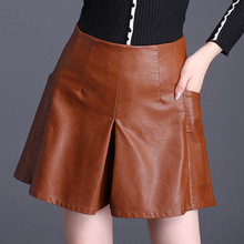 цены Shuchan Shorts Skirts Pu Leather High Waisted Shorts Femme Korean Shorts With Pockets Big Size New Style Black Red 3353