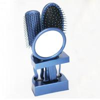 3pcs Of Hand Held Mirror Comb Set Toilet Mirror Home Modeling Blue Comb Paddle Brush Nov