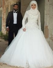 2016 Yüksek Boyun Uzun Kollu Gelinlik Müslüman Dantel Aplike Şapel Tren Gelin Gelinlikler elbiseler de maree İslam Arapça
