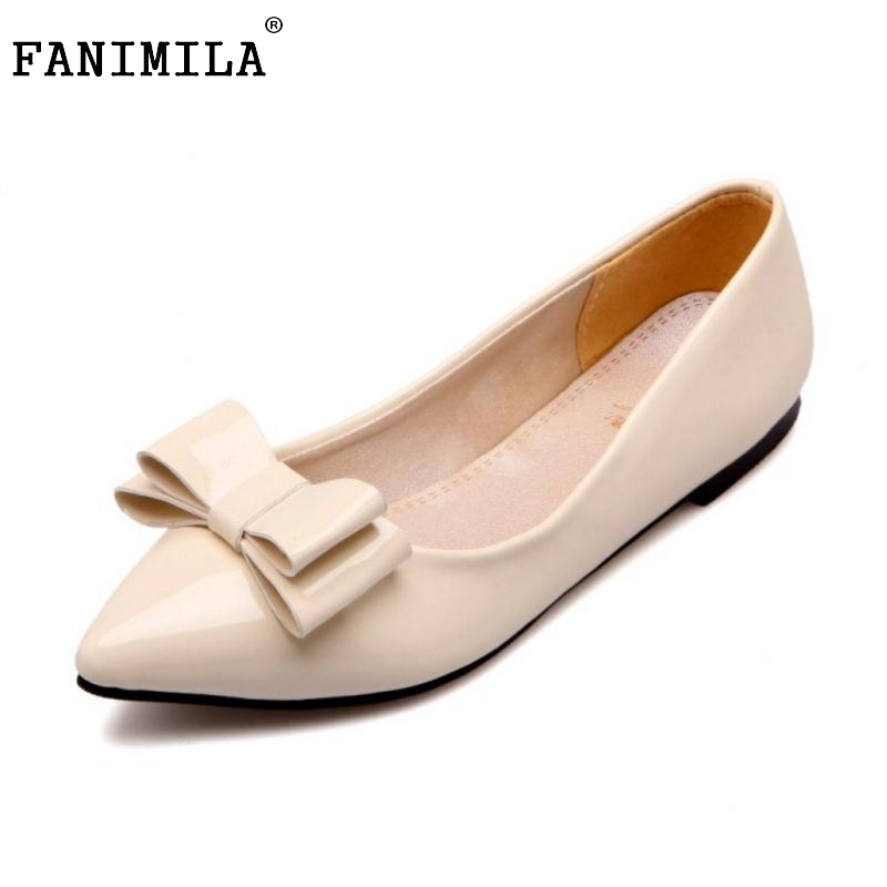 Size 30-49 Women Ballet Flats Shoes Women Patent Leather Bowknot Pointed Toe Office Lady Leisure Shoes Sample Fashion Footwear