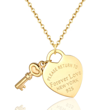New Arrival Key And Forever Love Big Heart Necklace Pendant Stainless Steel High Quality Gold Colour Jewelry For Women Love Gift high quality love heart pendant fashion women casual luxury necklace 2019 new jewelry