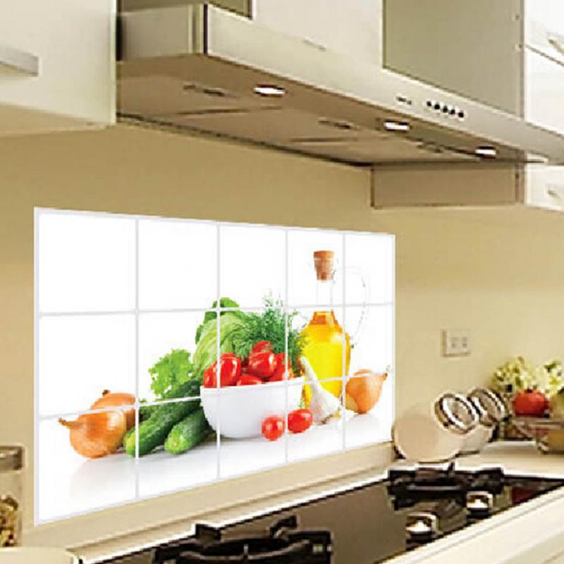 Hot Sell DIY Waterproof Oil High Temperature Fruits And Vegetables  Background Kitchen Tile Oil Proof Aluminum Wall Sticker In Wall Stickers  From Home ...