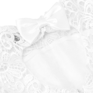 Image 5 - TiaoBug White Flower Girl Dress Kids Pageant Birthday Formal Party Lace Long Dress Bowknot First Communion Dress Prom Gown 2 12Y