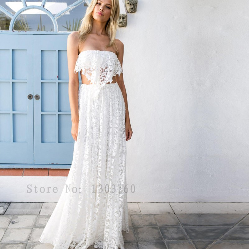 elegant sexy robe de mariage 2 piece boho a line wedding dresses 2016 bohemian lace