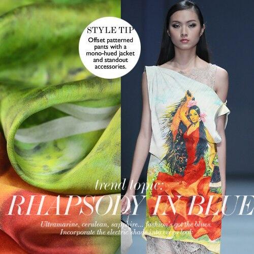 La sirène G impression jet d'encre numérique haut de gamme grand tissu de Satin de soie personnalisé large marque soie 2016