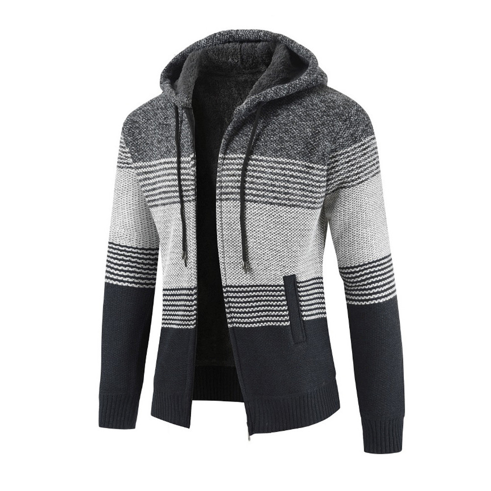 Mens Winter Cardigan Striped Zipper Hoodie Outwear Tops Sweater Blouse Coats