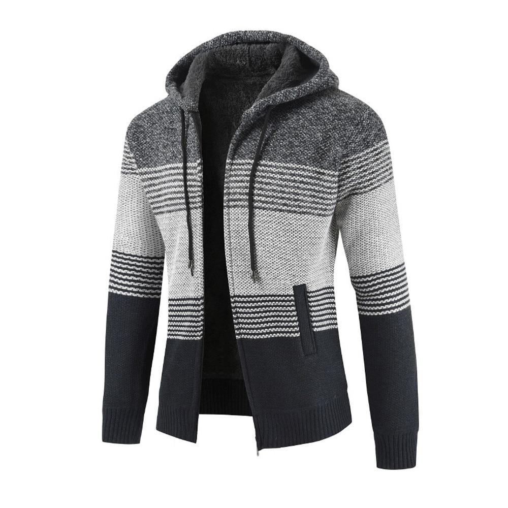 Mens Winter Cardigan Striped Zipper Hoodie Outwear Tops Sweater Blouse Coats