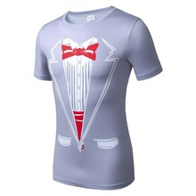 Moto New 3D digital printing a man short sleeve T-shirt t-shirts ready tie bow man short sleeve T-shirt air tight