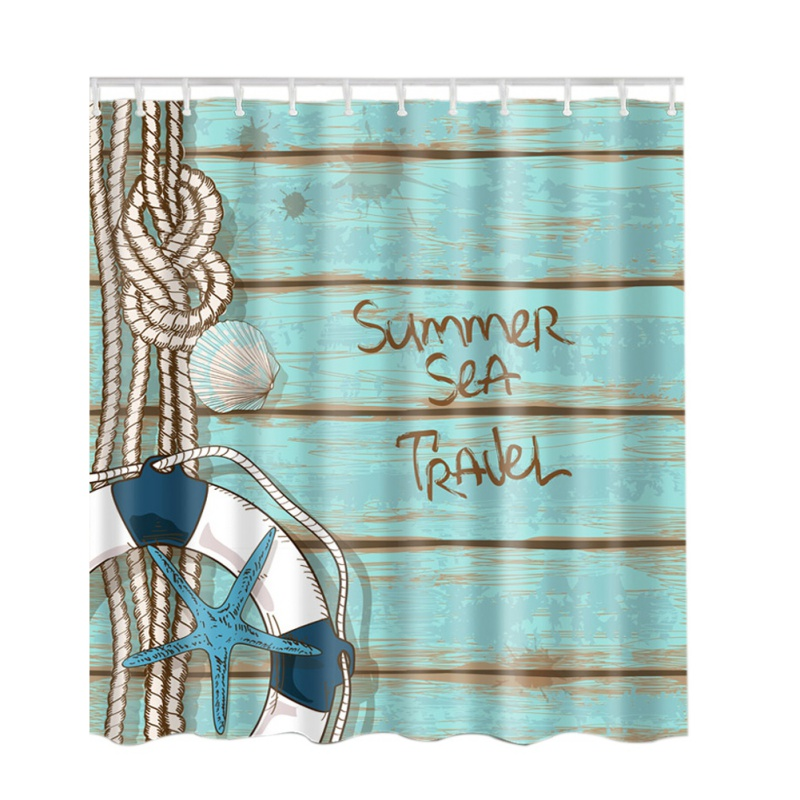 Ocean Decor Collection Seascape Sea Beach Picture Print Bathroom Set Fabric Shower Curtain with Hooks Blue/Sand White