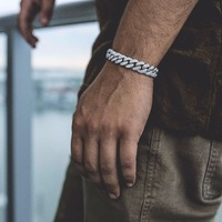 Men's Hip Hop Bling Bling Iced Out Miami cuban Chain Bracelet Luxury Brand Silver Gold Color Men Chain Fashion Jewelry