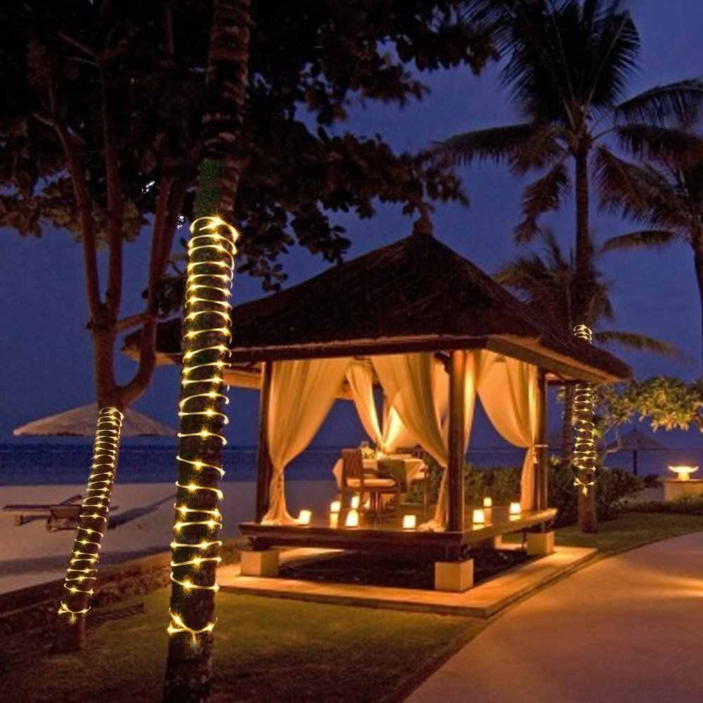 50/100 led ソーラーロープチューブストリングライト太陽光発電パティオライトクリスマスライト照明庭の芝生パーティーの装飾