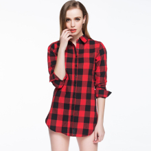 hot sale women blouses long shirts single breasted plaid cotton shirt wild casual streetwear shirt women  blouse be66