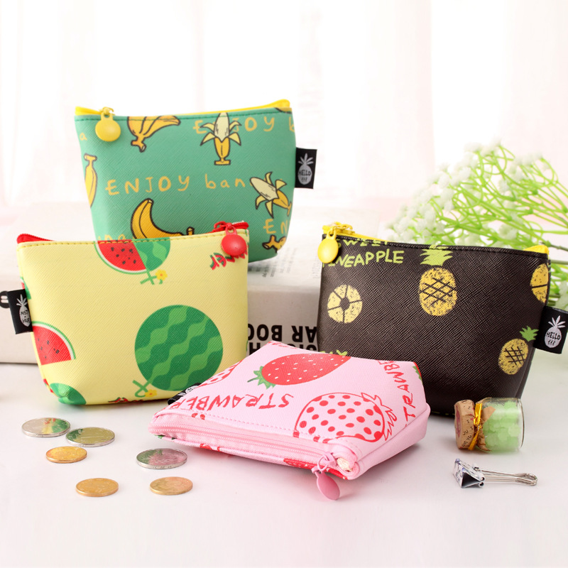 Korean Fresh Fruit Girls Coin Purse Creative Waterproof PU Leather Ladies Zipper Coin Wallet Children Pouch Kids Money Bag