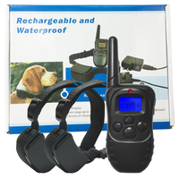For 2 dogs Blue Backlight Rechargeable Electric collar training Remote Manual Control Dog Collar Shock+Vibra+Electric Bark