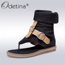 Odetina New Fashion Denim Sandal Women Flat Gladiator Boot Sandals Thong Shoes Buckle Summer Casual Shoes Rome Style Big Size 43