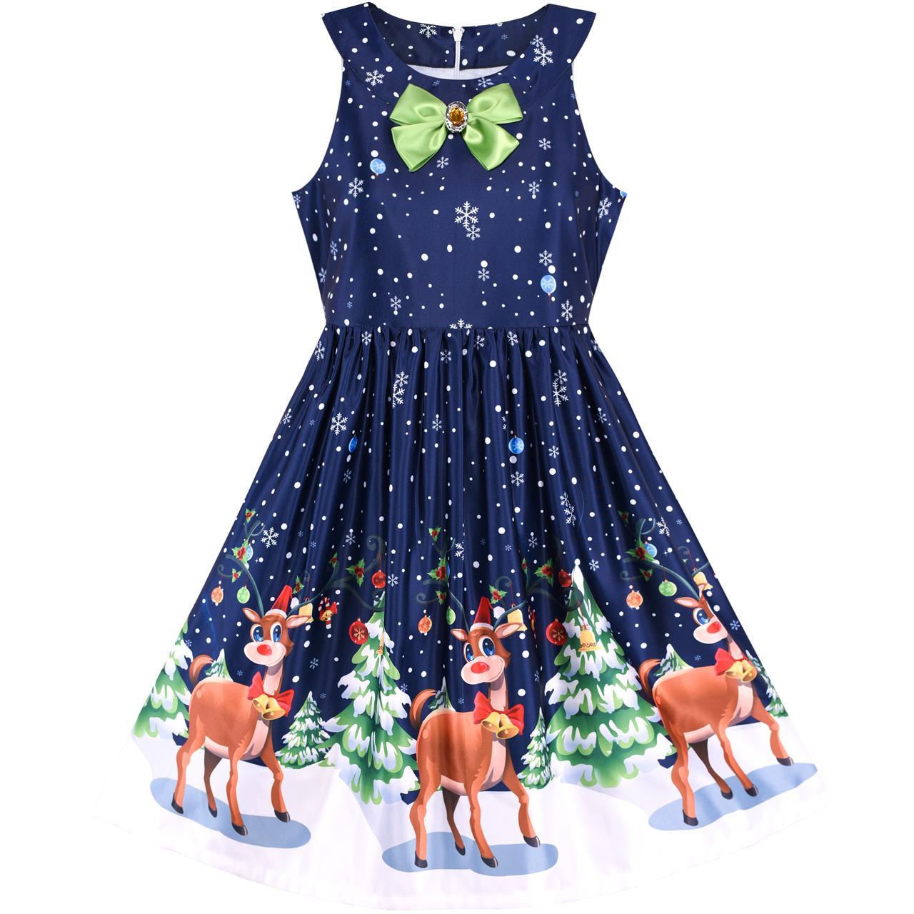 Sunny Fashion платья для девочек платье рождество Ева рождество Дерево Снег северный олень Вечеринка