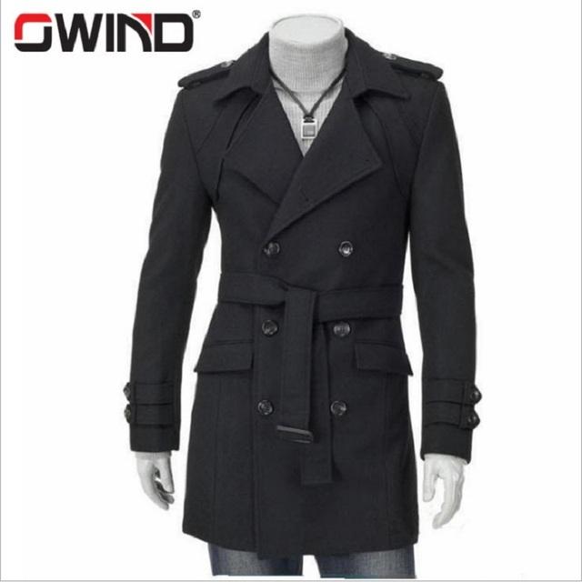 Novo 2016 Inverno Mens Designer De Roupas de Cashmere Trincheira Cinto Grosso Casaco de Lã Quente Homens Blusão Casaco DFBTC006