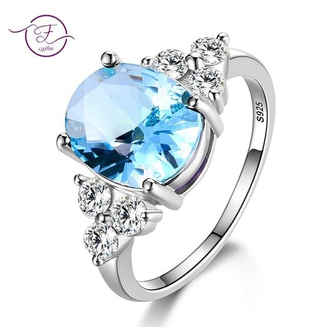 Women's Jewelry S925 Silver Ring AAAAA Oval Lake Blue Pink White Champagne Zirco