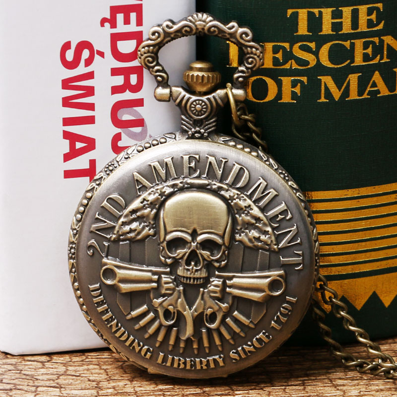 Vintage 2nd Amendment USA Theme FOB Watch Defending Liberty Retro Bronze Pendant Men Male Quartz Pocket Watch Necklace Chain otoky montre pocket watch women vintage retro quartz watch men fashion chain necklace pendant fob watches reloj 20 gift 1pc page 9