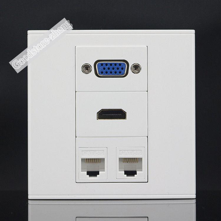 Wall Plate 4 Ports Dual Network Lan RJ45 CAT5e & One Port VGA Jack & HDMI Socket Panel Faceplate Wholesale Lots Home Electronic