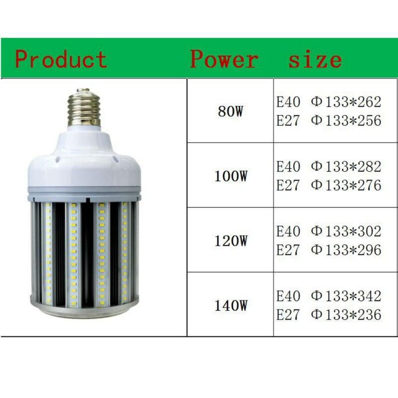 LED très brillante Lumière De Maïs E40 E27 LED lumière de maïs 80 W 100 W 120 W 140 W lumière LED haute baie extérieure lampadaire LED