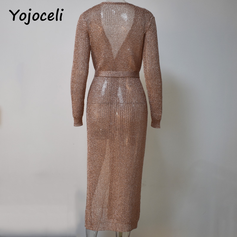 Cuerly sexy rose gold shine knitted cardigan dress women party club midi bow dress deep v neck 2019 full sleeve bodycon dresses in Dresses from Women 39 s Clothing
