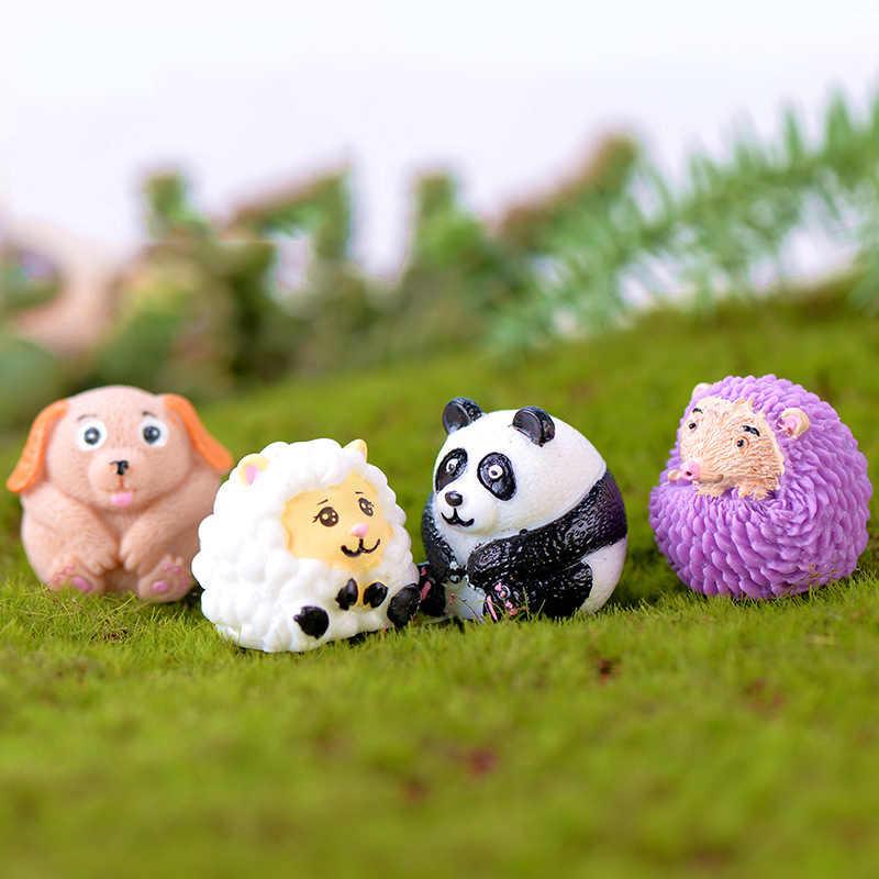 ZOCDOU 1 ชิ้นแกะแพนด้าสุนัข Hedgehog ชุดขนาดเล็กรูปปั้น Figurine งานฝีมือรูปเครื่องประดับห้อง Garden Decor ตกแต่ง