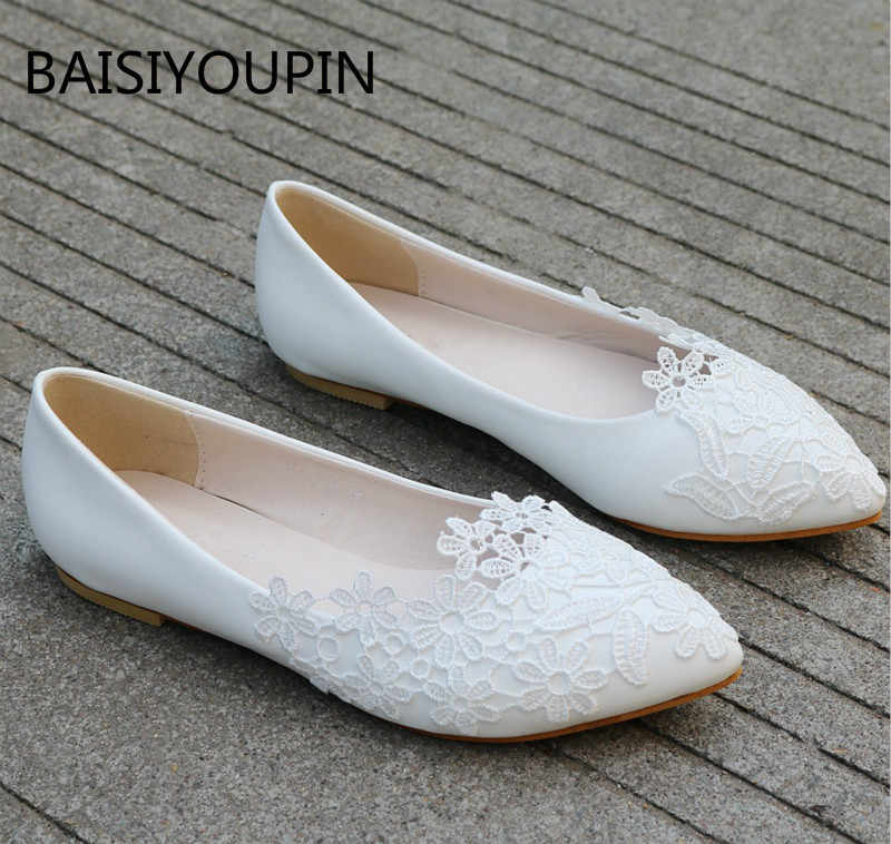 868dc71d4 Plus Size Flats Solid Loafers Women Shoes Pointed Toe Slip-On PU Leather  White Lace