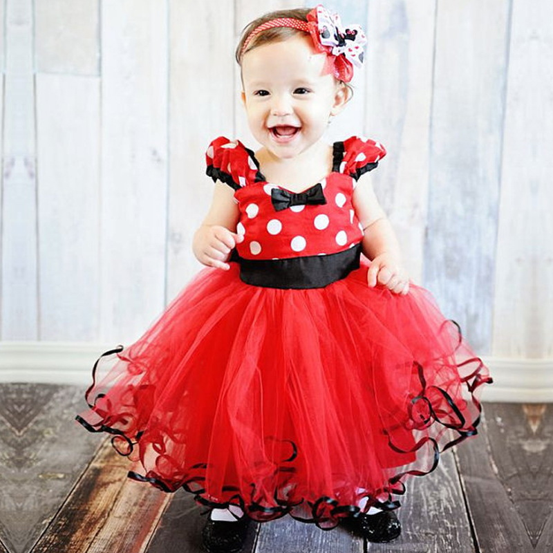 Toddler Fancy Kids Mouse Dress For Girl Costume Cosplay Girls Tutu Dots Red Dresses First Birthday Outfits Infant Baby Clothes