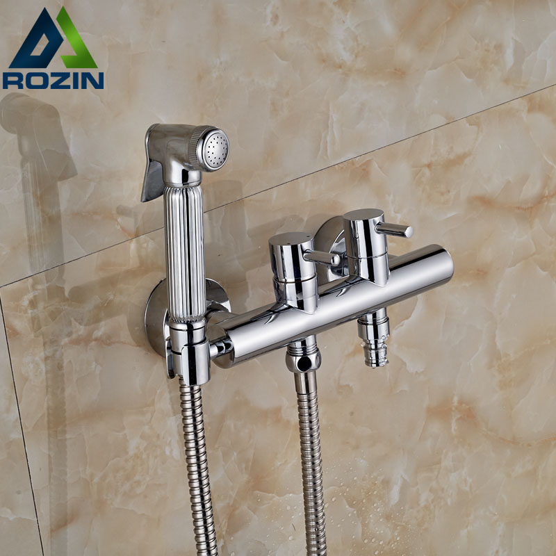 Chrome Brass Handheld Bathroom Bidet Shower Faucet Wall Mount Dual Handles Washing Machine Taps premintehdw abs wall mount bathroom folding seat fold up seats shower rv seat