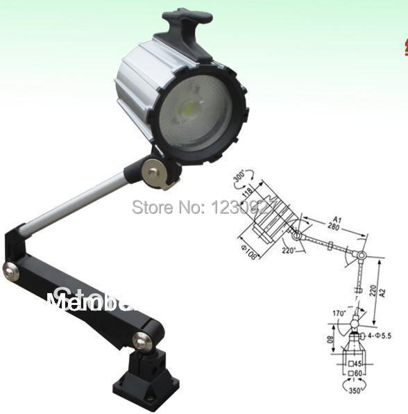 Long arm 280mm+220mm COB 9W Led machine work lamp drilling table lighting lamp with switch 220v 24v 12V 110V for optional short arm machine tool lamp work lamp 24v 12v 36v 220v 50w halogen lamp
